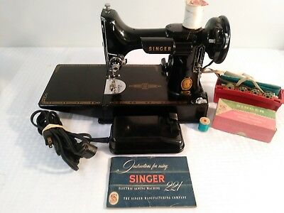 Vintage SINGER 221- 1955 Portable Electric Sewing Machine- TESTED