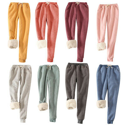 Women Girls Winter Thick Warm Fleece Lined Thermal Stretchy Trousers Sweatpants