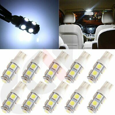 10PCS White T10 9 SMD 5050 Car LED Interior Map Light bulbs W5W 2825 192 168 194