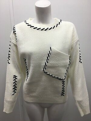 Ladies Women Girls Aran Cable Knit Pocket Piping Stitches Short Loose Jumper Top