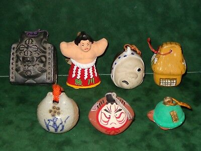 "Japanese 7 Vintage Clay Bell Pottery Ceramic ""DOREI"" Hand Painted Lucky Charm"