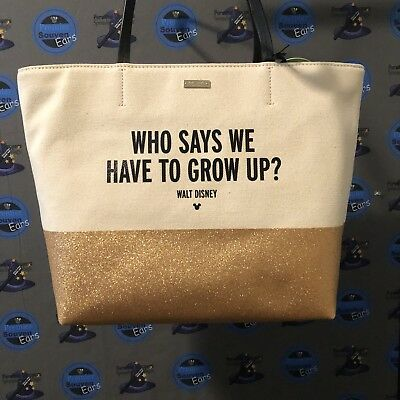 Disney Kate Spade 2018 Collection Gold Who Says We Have To Grow Up Tote Bag