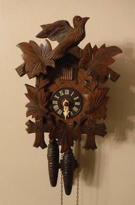 Vintage German Hand Carved Wooden Black Forest Cuckoo Clock