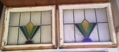 """Pair of Antique Victorian Leaded Stained Glass Windows 16.5"""" X 13"""""""