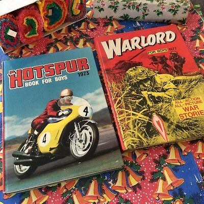 Vintage Xmas Present ~ Hotspur Annual 1973, Warlord Annual 1977 ~ Man cave, etc