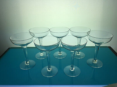 7 hollow stemmed coupe / champagne glasses cocktail barware mid century bar