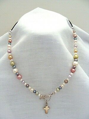 Multicolored Pearl Necklace With Sterling Silver Toggle Clasp Cross Pendant
