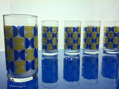5 mid century vintage juice / tumbler glasses cocktail barware glassware MCM