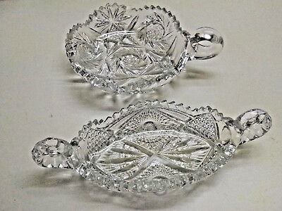 2 Vintage Cut Glass Relish-Celery dishes Canoe Shape & Round with Handles!