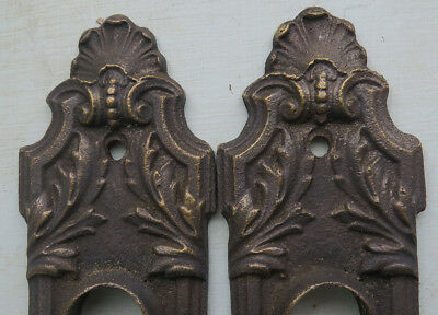 PAIR Antique Cast Bronze not iron Ornate DOOR BACK PLATES Shell Bead Leaf Vines