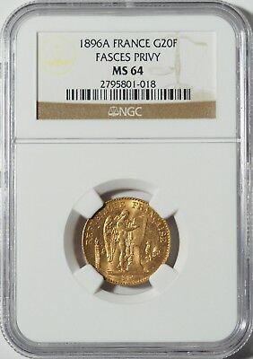 "1896A Gold 20 Franc NGC MS64 -- ""Lucky"" Angel Coin"