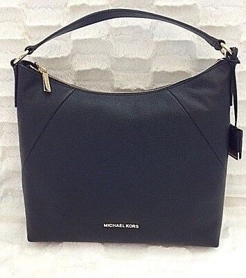 b43606669a05 Michael Kors Karson Top Zip Pebbled Leather Large Shoulder Hobo Bag in Black