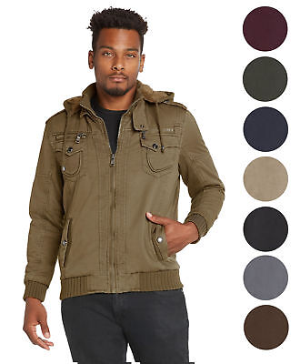 9 Crowns Men's Athletic Cut Sherpa Lined Removable Hood Bomber Jacket
