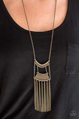 Paparazzi Jewelry brass pendant tribal inspired Necklace with earrings nwt