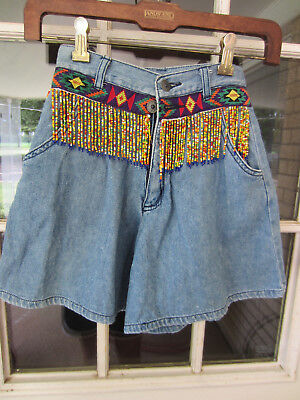 1990s Don't Stop Kids denim shorts/skort culotte western w/beading size 8