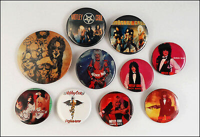 Motley Crue Lot Of 10 Buttons Pins Badges Dr. Feelgood / Shout At The Devil