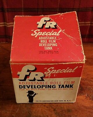 Vintage FR Special Adjustable Roll Film Developing Tank 35MM to 116 Films, w Box