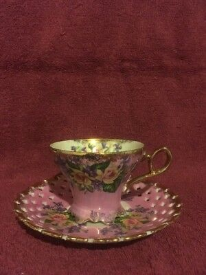 Vintage L M Royal Halsey Very Fine China Pink Tea Cup Reticulated Saucer  M