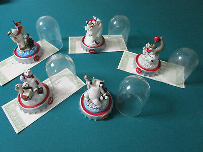 Franklin Mint Coca Cola Polar Bears Figurines With Dome Pick One