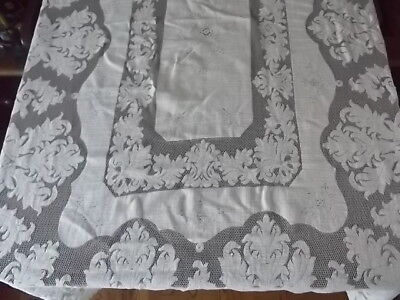 vtg ecru 100% cotton lace scallop edge 53in x 77in oblong rectangle tablecloth
