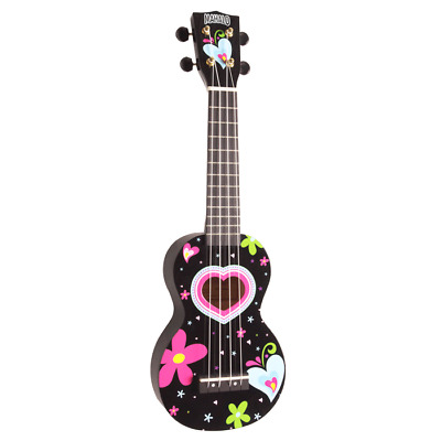 MAHALO Heart & Flowers Black Soprano Ukulele and Bag *NEW* Art Series