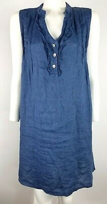 363dfc2af0 Alessia Pacini Size M Tunic Dress Blue Pullover 100% Linen Made in Italy