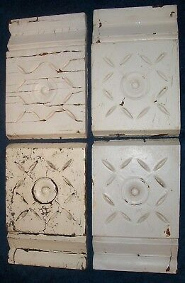 4 Victorian Eastlake Door Window Corner Molding Blocks - Bullseye & Daisies