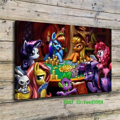 """Little Pony Playing Poker Painting HD Print on Canvas Home Decor Wall Art 20x32"""""""