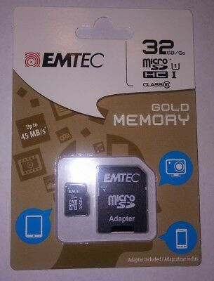 EMTEC 32GB micro SD WITH ADAPTER BRAND NEW Factory Sealed Free Shipping
