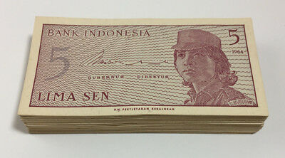 Bank of Indonesia 5 Sen Banknotes 115 Pieces 1964 XF to UNC