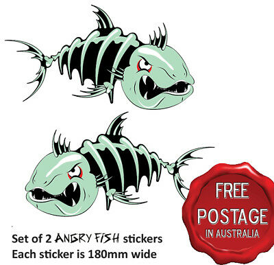 2 Awesome Angry Fish Boat Car Sticker Decals 180Mm