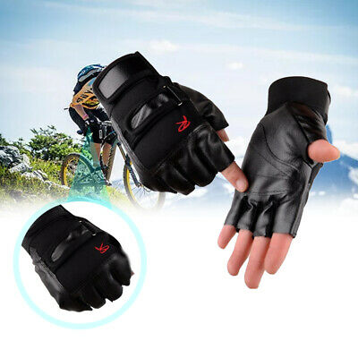 Men Leather Half-finger Gloves Weight Lifting Sport Gym Training Workout Fitness