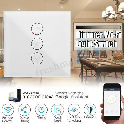 EU WIFI Smart Dimmer Light Wall Touch Remote Panel Switch For Alexa Google Home