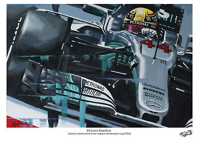 Lewis Hamilton.. A4 limited edition art print signed by artist  Formula 1 F1