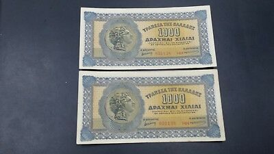 Greece 1000  Drachmai  Banknote 1941 Almost Unc Consecutive Numbers