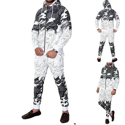 Fashion Mens Hooded Hoodies+Long Pants Sports Tracksuits Camouflage Gradient Set