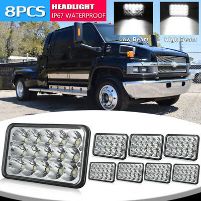 8x 4X6 INCH LED headlights Sealed Hi/Lo Beam For Fit Freightliner Classic FLD120