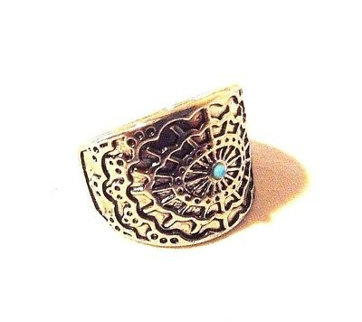 Antique Silver Etched Tribal Sun Ring With Small Turquoise Stone  Size 7