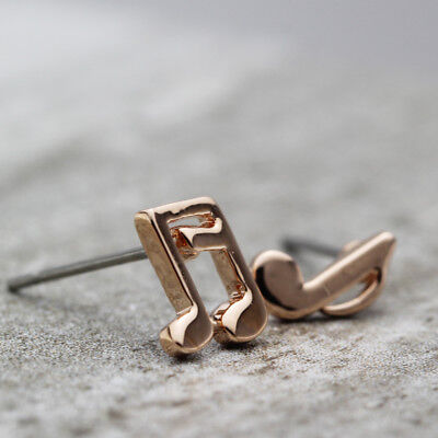 Women Girls 18K Rose GOLD Plated 8mm 2 Color Music Notation Symbol Stud Earrings