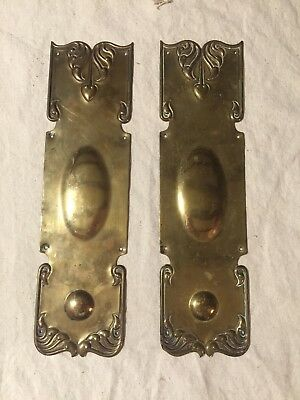 Pair Antique/Vtg Victorian Brass Metal Ornate Door Hardware Push Plates Hearts