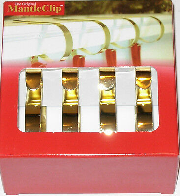 The Original Mantle Clip set of 4 Gold Color Metal New in Box