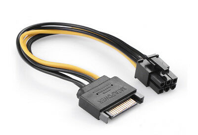 SATA 15 Pin Male to 6 Pin PCI Express power Cable 20cm Rig Cable