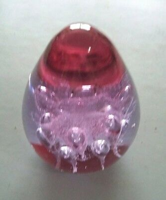 Beautiful Paperweight,  Pinky - Purple With Encased Bubbles.