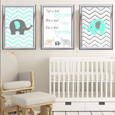 First We Had Each Other Elephant Nursery Print Set Turquoise And Grey Baby Art