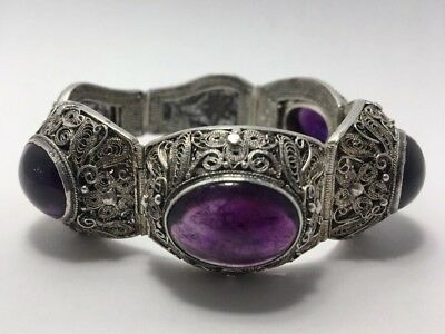 Beautiful Early 20th c. Antique Chinese Silver Filigree and Amethyst Bracelet
