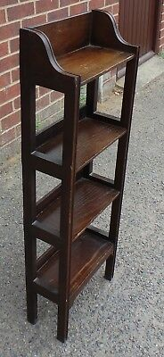Victorian antique Arts & Crafts solid fumed oak compact open library bookcase