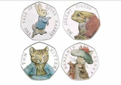 Full set 2017 Beatrix Potter 50p COLOURED Coins Peter Rabbit Jeremy Fisher Tom