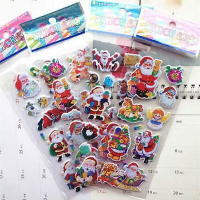 5 Sheets Santa Claus 3D Bubble Sticker Christmas Puffy Sticker Home Decor