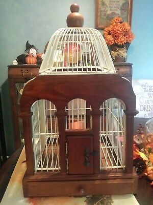 """Decorative 20"""" Wood Metal Wire Dome Bird Cage House Slide Out Tray Garden Patio"""
