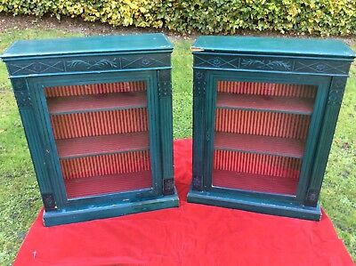 Pair Of Antique Painted Pine Pier Cabinets / Glazed Bookcases, Neo Classical